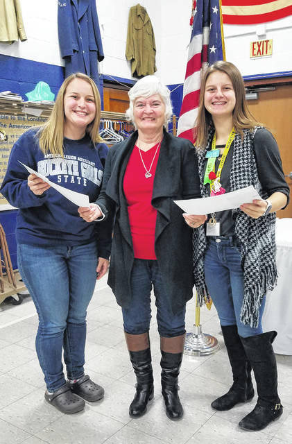 Pictured (from left) are Hannah Faluisi, JoAnne Newsome Auxiliary President, and Haylie Blankenship.