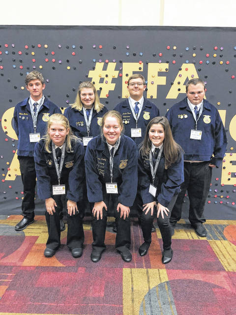 Racine Southern FFA members recently attended the National FFA Convention. Pictured (top to bottom, left to right) are Ethan Mullen, Caelin Seth, Austin Rose, Austin Rice, Krisitn McKay, Raeven Reedy, Rachel Jackson.