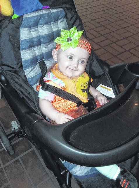 Isabella Nelson, age 5 months, at her first Trick or Treat in Tuppers Plains.
