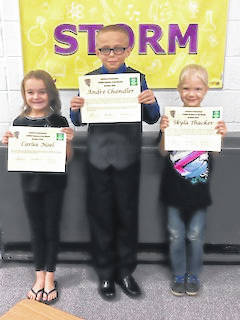 STORM Students of the Month Carlee Noel, Andre Chandler and Skyla Thacker were honored at the recent meeting.