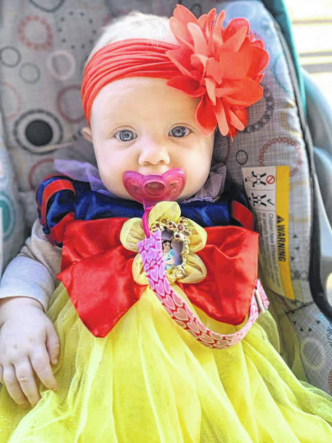 Harlow, age 5 months, is ready for her first Trick or Treat.