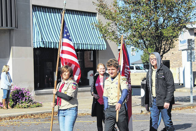 Members of the Boy Scouts of America Troop #258 march in the annual AMVETS Post #2 Veterans Day Parade in Point Pleasant.