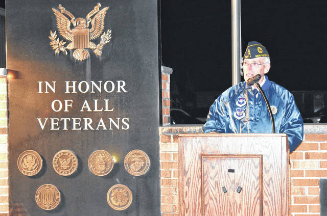Ken Vickers, a member of the Smith-Capehart American Legion Post 140 of New Haven, W.Va. served as guest speaker at the Veterans Day ceremony held Monday in New Haven. The service was hosted by the Legion, Stewart-Johnson V.F.W. Post 9926 of Mason, W.Va. and the Town of New Haven.