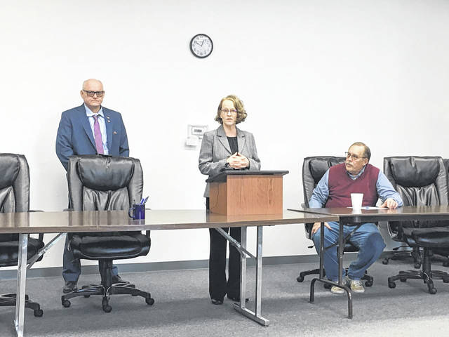The Village of Pomeroy will receive $3.7 million in funding for the 833 Sewer Project from the Ohio EPA's H2Ohio Plan. Pictured from left are Senator Frank Hoagland, Ohio EPA Director Laurie Stevenson and Pomeroy Mayor Don Anderson.