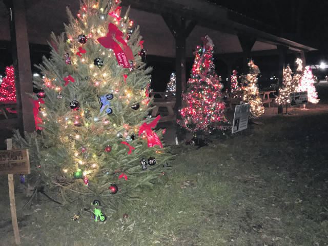 """Trees in the Park,"" at the Stewart-Johnson V.F.W./Lottie Jenks Memorial Park in Mason, is one of five Christmas displays residents can see on a circle throughout Mason County. Without ever leaving the vehicle, a circle from Point Pleasant to Letart will take in light displays at Krodel Park and the West Virginia State Farm Museum, as well as tree displays in downtown Point Pleasant, Mason and Letart."