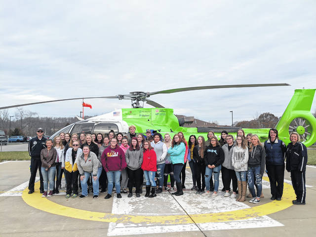 Nursing students are pictured in front of MedFlight 3.