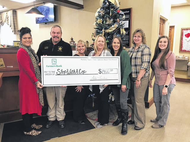 "The Tuppers Plains Branch of Farmers Bank recently donated $400 to the Meigs County Sheriff's Office to support their ""Shop with A Cop"" Program. The bank sold candy bars and candles the entire month of November, donating 100 percent of the proceeds to the program."