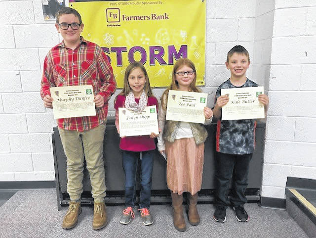 STORM Students of the Month honored at the meeting were Murphy Dunfee (sixth grade), Joslyn Hupp (fourth grade), Zoe Paul (first grade) and Kale Butler (kindergarten).