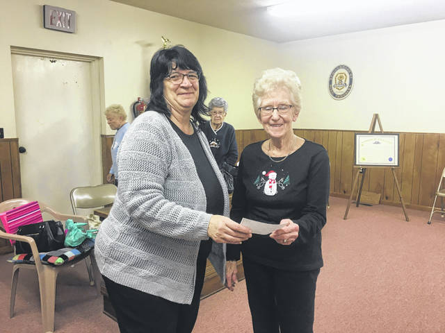 The Hemlock Grange #2049 recently presented $200 to the Bradford Church Food Pantry and two boxes of food to the Meigs Cooperative Parish. Pictured are (left) Hemlock Grange Treasurer, Patty Cook and (right) Ann Lambert, representative of the Bradford Church.