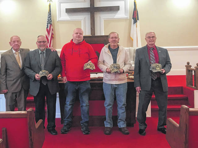 Veterans were recently recognized at Hillside Baptist Church. The veterans were awarded at camouflage hats with the emblem of the branch of military that served in. Veterans at the church included Dr. James Acree, Sr., Army; Rev. Joe Humphrey, Sr., Air Force; Jeremy Boles, Army; Tim Priddy, Air Force; and Rev. Steve Little, Army.