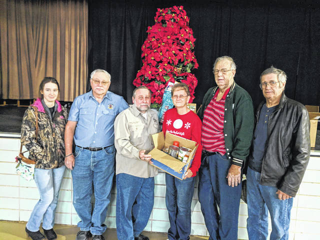 Meigs County Pomona Grange #46 is participating in a community service project called Advent Food Boxes. Advent goes from Dec. 1 to Dec. 24. On that date, delivery of the boxes occurs. The local group started in November in order for the Food Pantry to be able to restock their shelves after Thanksgiving and before Christmas. Meigs County Pomona Grange consists of members from Hemlock Grange, Racine Grange and Star Grange. Members participating in the presentation were Olivia Yost, Racine Grange; Rick Macomber, Star Grange; Bud Randolph, President elect of Meigs Cooperative Parish; Linda Montgomery, Star Grange; Keith Ashley and Charles Yost, Racine Grange.