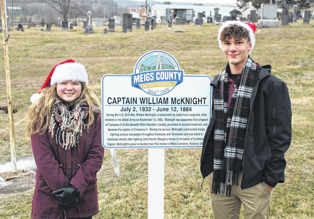 The 12th Bicentennial Marker was unveiled on Wednesday evening in Rutland Township. Pictured are Bicentennial Ambassadors Brielle Newland and Cooper Schagel.