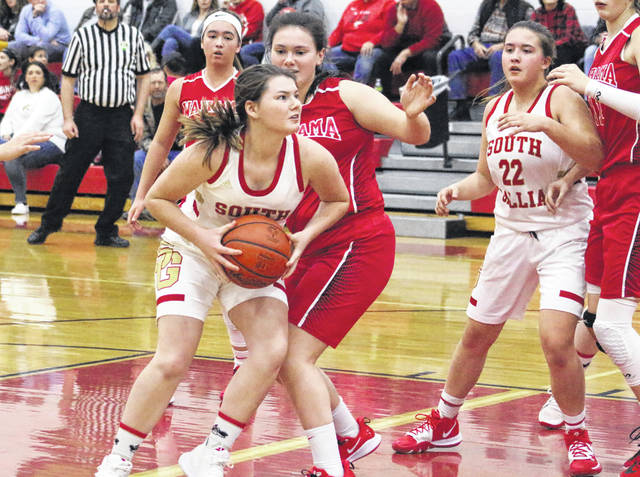 South Gallia sophomore Jessie Rutt looks for a shot attempt during the first half of Thursday night's TVC Hocking girls basketball game against Wahama in Mercerville, Ohio.
