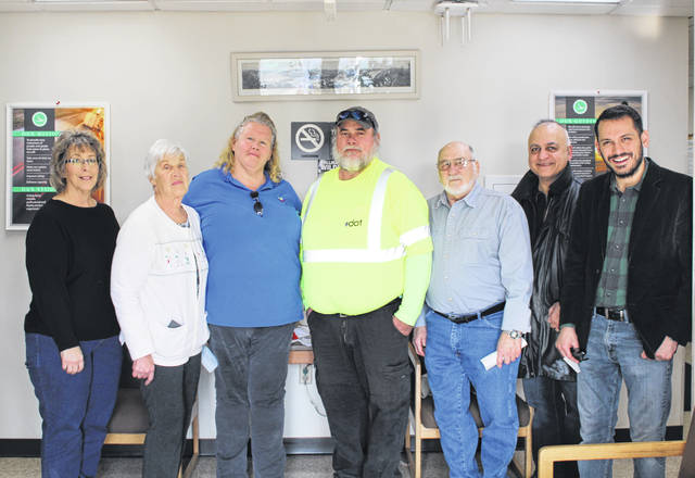 OCSE 5300 recently presented donations to local food pantries and programs. Pictured (from left) are Robin Putman and Joann Ritchie from Golden Harvest Food Pantry, Rhonda Rathburn from the Meigs County Council on Aging Meals on Wheels, OCSE 5300 President Dave Edwards, Larry Ebersbach from the Meigs Cooperative Parish, and Moe Hajivandi and Pastor Sam Buckley from River of Life Food Pantry.