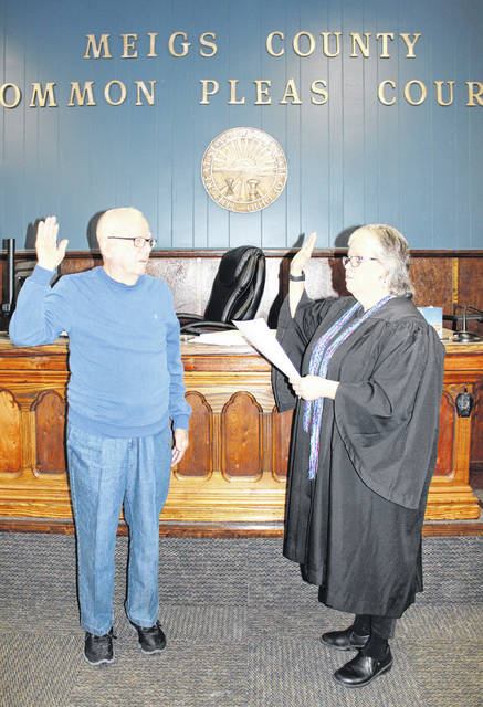 Middleport Mayor-elect Fred Hoffman was sworn in at noon on Monday as he prepares to take office on Jan. 1, 2020. Hoffman was given the oath of office by Meigs County Common Pleas Court Judge Linda Warner. More on Hoffman's plans and goals as he takes office will appear in an upcoming edition of <em>The Daily Sentinel</em>.