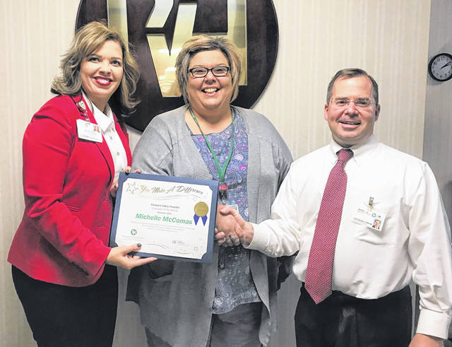 Michelle McComas is pictured with Jeff Noblin, FACHE, PVH CEO, and Crystal Tolley, Executive Director of Physician Services & Physician Recruitment.