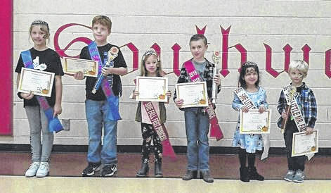 Southwestern Elementary School held its fall festival Nov. 2. Festival royalty winners were crowned prior to the beginning of the auction. Pictured from left to right are Queen Chelsea Swisher, King Wesley Whealdon, Princess Gracie Elliott, Prince Levi Stout, Little Miss Aliya Attar and Little Mister Charlie Gibson.