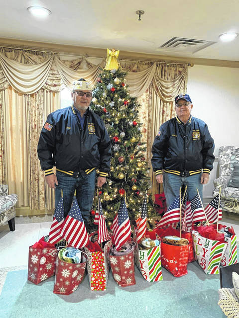 Members of the Stewart-Johnson V.F.W. Post 9926 of Mason, W.Va., recently delivered gifts to veterans at Overbrook Rehabilitation Center in Middleport, Ohio. Pictured are Commander Ray Varian, left, and Trustee Harold Roush.