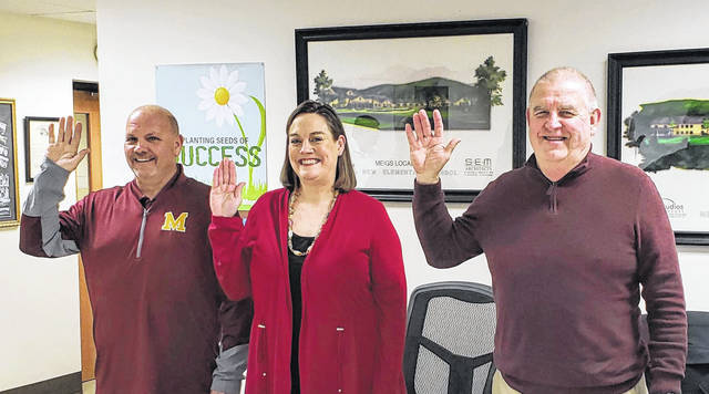 Meigs Board of Education members Tony Hawk, Barbara Musser and Roger Abbott were sworn in during the recent organizational meeting.