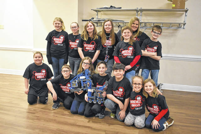 Pictured are members of the Robocats team and staff, including, back row, from left, Dixie Oliver, Gabriella King, Madison Farley, Reghan Cossin, Abigail Oliver, Sarah Starcher, Ryan Matheny; front row, from left, Shelly Durst, Levi Legg, Rilie Wamsley, Layland Maynor, Mason Barnette, Hadleigh Cossin, Claire Thompson.