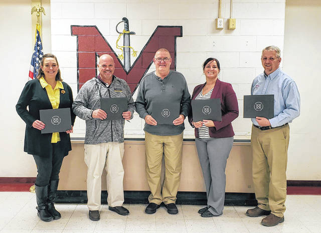 Meigs Local Board of Education members (from left) Barbara Musser, Tony Hawk, Roger Abbott, Heather Hawley and Ryan Mahr are pictured at the recent Board of Education meeting.