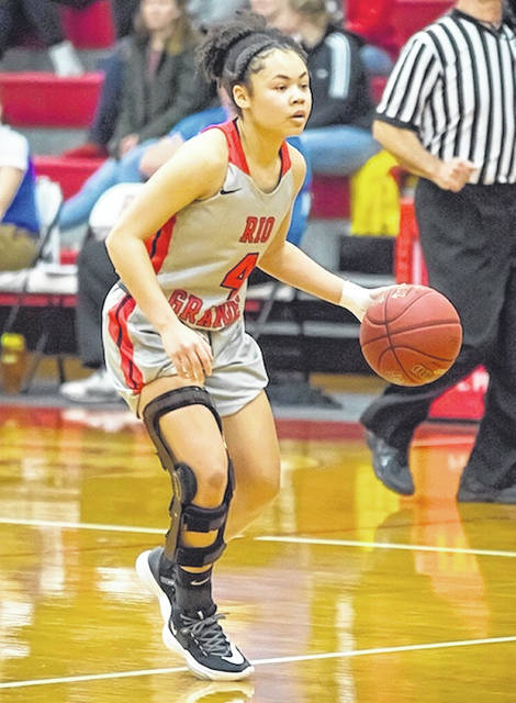 Rio Grande's Chyna Chambers brings the ball up the floor during Saturday afternoon's 80-74 win over Midway University at the Newt Oliver Arena. Chambers scored 14 points in the victory.