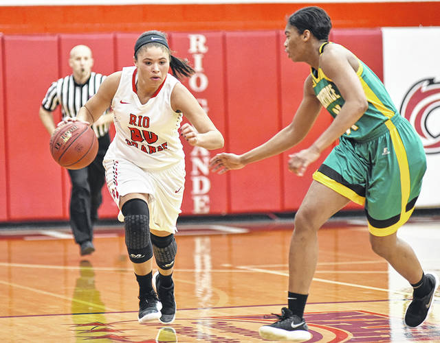 University of Rio Grande senior Sydney Holden, left, has been named the NAIA Women's Basketball Division II National Player of the Week. Holden, 5-foot-9 guard from Wheelersburg, Ohio, averaged a near triple-double of 20.7 points, 11.7 rebounds and 9.7 assists in helping the RedStorm to a 3-0 record last week.