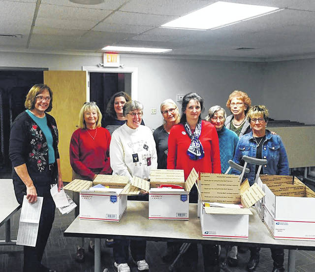 DAR members packed care packages to be sent to military serving overseas.