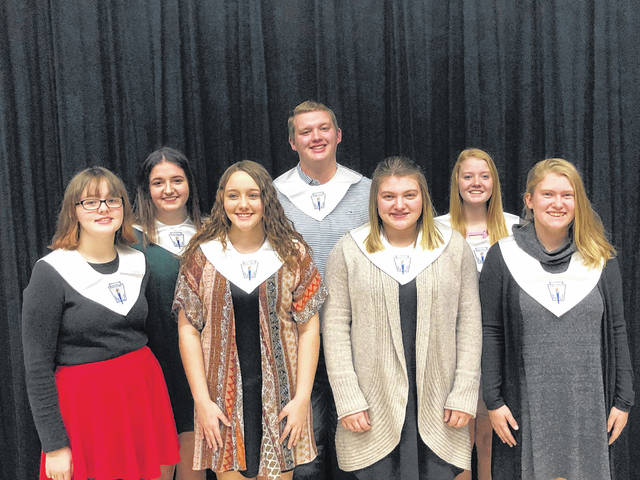 Newly inducted members of the Racine Southern Chapter of the National Honor Society are (front row, from left) Natalie Harris, Abby Rizer, Caelin Seth, and Kristin McKay; (back row, from left) Rhanda Cross, David Shaver, Alexis Ervin.