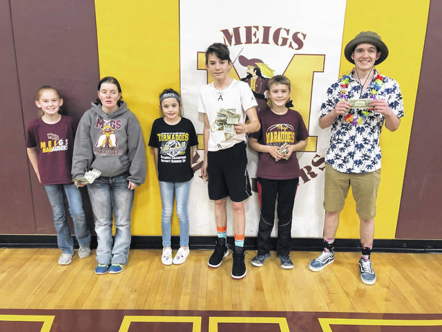Dash for Cash participants at Meigs are shown with their winnings.
