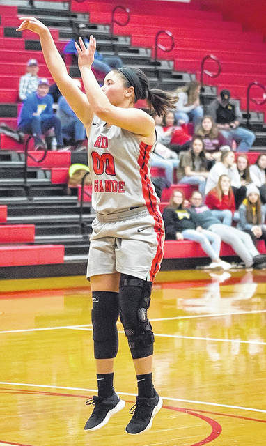 Rio Grande's Sydney Holden recorded her third triple-double of the season in the RedStorm's 114-109 loss to Ohio Christian on Saturday at the Newt Oliver Arena. The Wheelersburg, Ohio senior finished with 25 points, 14 rebounds and 13 assists.