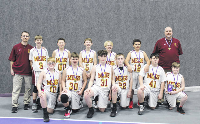 The Meigs Marauders 7th Grade Boys Basketball team completed with 2019-20 season on Saturday as champions of the 5th annual Logan Middle School Basketball Tournament. The team defeated the host team 34-25 to win the title. The 7th grade Marauders were also the 2019-20 TVC Ohio Division Champions with a 14-2 regular season mark. Team members are No. 00 Lincoln Thomas, No. 3 Cayden Gheen, No. 5 Landen DeWees, No. 10 Joseph Schuler, No. 12 Mason Qualls, No. 13 Brady Davis, No. 22 Jake Martin, No. 24 Wyatt Howard, No. 30 Braden Hawley, No. 31 Dustin Vance, No. 32 Dolton Brickles, No. 41 Aaron Tobin and No. 55 Aiden Justice. The team is coached by Tim Lewis with assistant coach Pat Martin. The team is pictured following the championship game on Saturday. Absent from the photo are Wyatt Howard and Aiden Justice.