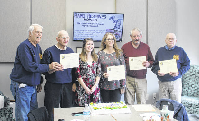 Longtime members of the Bend Area Rotary Club were recognized during the club's 90th birthday celebration earlier this month. Pictured (from left) are Richard Vaughan, John Rice, Annisha Ball, Kristi Eblin, Gene Triplett, and Robert Beegle.