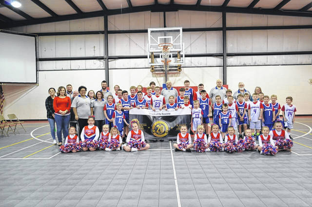 Players, cheerleaders and coaches from the 2019-20 season of the Upward Basketball/Cheerleading program at the Gallipolis First Church of the Nazarene.