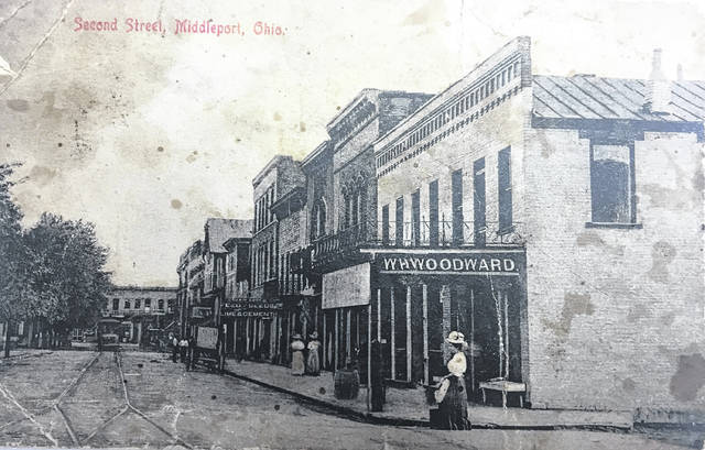 The Allen House, Restaurant, and Barber Shop are pictured in these 1910 Postcards of downtown Middleport, Ohio.