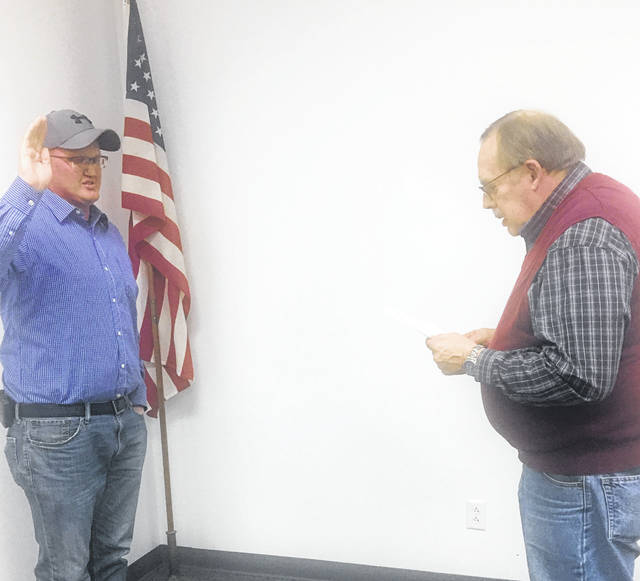 Aaron Oliphant was sworn in as a Pomeroy Council member by Mayor Don Anderson during Monday's meeting.