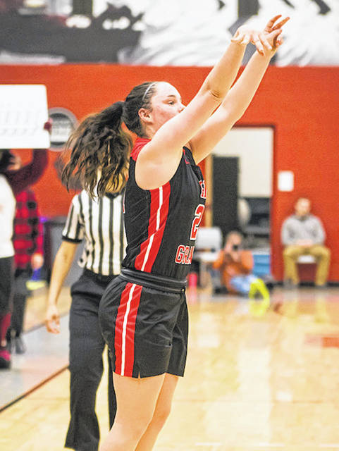 Rio Grande freshman Kaylie Apperson connects on one of her five three-point goals in Tuesday night's 87-80 loss at Indiana University East in Richmond, Ind.