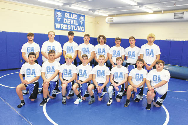 Pictured are members of the 2019-20 Gallia Academy varsity wrestling team. Kneeling in front, from left, are Jaquar Brown, Chris Moore, David Wells, Todd Elliott, Garytt Schwall, Nate Yongue, DaKota McCoy and Ethan Williams. Standing in back are Chancey Odom, Wyatt Rucker, Logan Nicholas, Bronson Carter, Gave Raynor, C.J. Berkley, Jayden Dunlap and Brayden Easton.