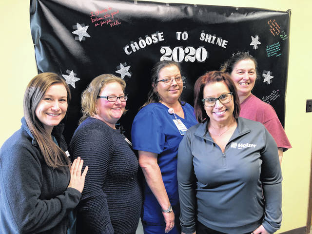 Shown pictured left to right: Nicole Crump, MSW, Volunteer Coordinator, Holzer Hospice; Courtney Doles, Bereavement/Volunteer Department Coordinator, Holzer Hospice; Natali Massie, RN, CHPN, Clinical Coordinator, Holzer Hospice; Shelly Ranegar, LSW, Bereavement Coordinator, Holzer Hospice; and Brandee Fowler, Department Coordinator, Holzer Extra Care.