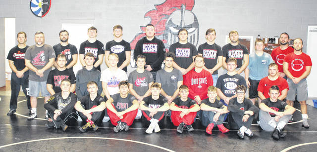 Pictured are members of the 2020 Point Pleasant wrestling team, who captured the program's fourth consecutive Class AA-A Region IV championship on Saturday at the Millwood Armory in Millwood, W.Va.