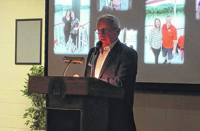 Retired sports broadcaster Marty Brennaman, probably best known for his voicing of play-by-play action for the Cincinnati Reds on its radio network from 1974 to 2019, discusses his friendships and adventures in broadcasting to Gallia Chamber of Commerce Awards Banquet visitors, Thursday evening. For information about Chamber award winners, turn to page A6 or visit the Gallipolis Daily Tribune online at www.mydailytribune.com.