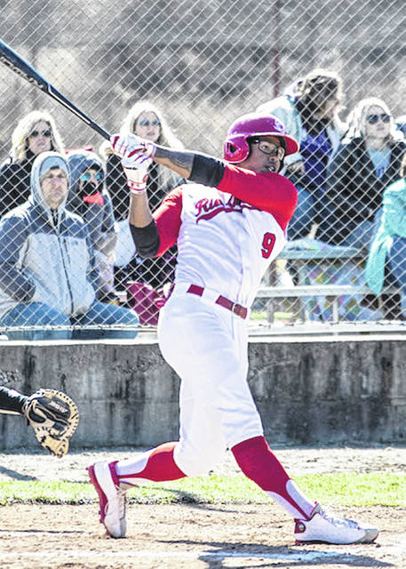 Rio Grande's Isaiah Lewis connects on 2-out, 2-run ninth inning single during Saturday's 3-2 11-inning win over Asbury University at Bob Evans Field in Rio Grande, Ohio.