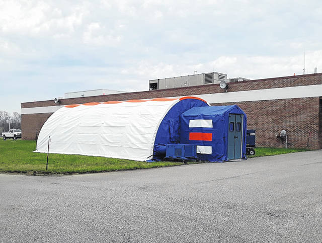 The BlueMed Mobile Tent was set up on Tuesday next to the Holzer Meigs Emergency Department.