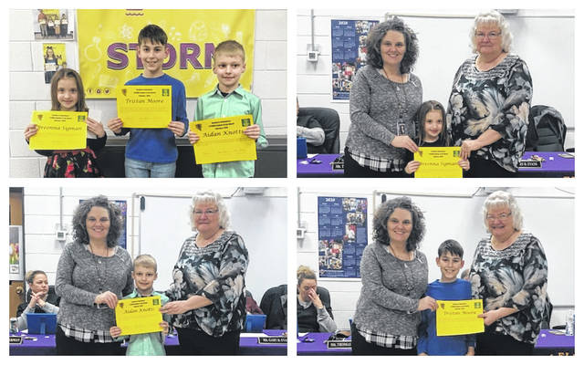 STORM Students of the Month recognized at the meeting were Tristan Moore (6th grade), Breonna Sigman (kindergarten) and Aidan Knotts (2nd grade). The students were recognized by Board President Brenda Johnson and Principal Tricia McNickle.