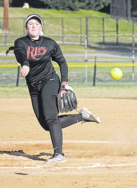 Rio Grande's Zoe Doll fires a pitch plateward during Sunday's game against Thomas (Ga.) University at the NFCA NAIA Leadoff Classic in Columbus, Ga.