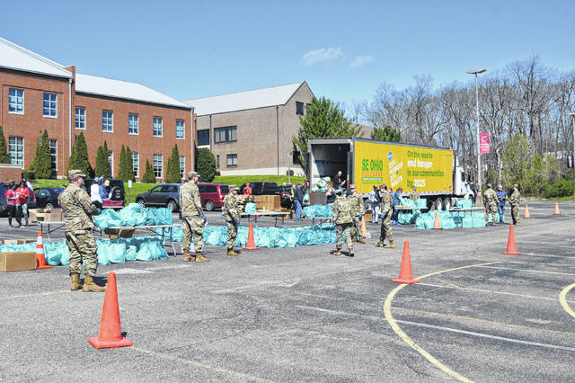Members of the Ohio National Guard assist with food supply distribution.