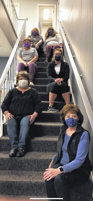 Volunteers came together to sew masks to donate to Pleasant Valley Hospital. Pictured from top are Beth Clark, Abbey Clark, Cheryl Moore, Ashley Cossin, Denise Scarberry and Kim Napora.