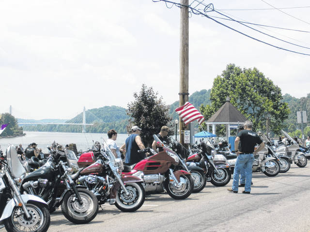 Motorcycles line Main Street for the 34th annual Meigs Memorial Run.