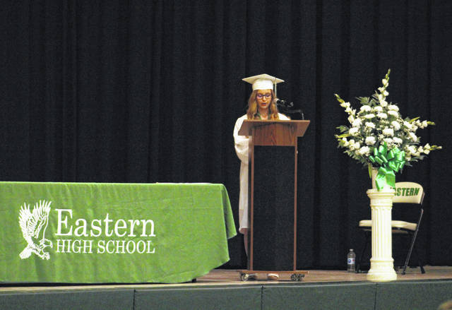 Valedictorian Faith Bauerbach speaks as part of the Class of 2020 commencement exercises.