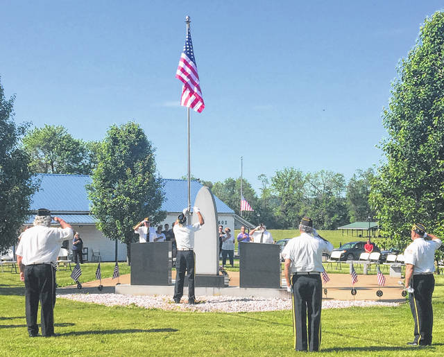 The Racine American Legion hosted a Memorial Day ceremony on Monday, including the flag raising, pictured here.